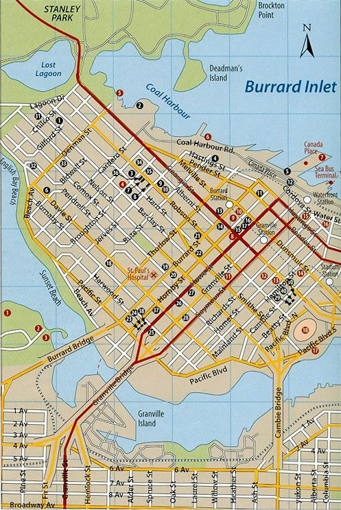 Vancouver Downtown Map Hotels and Attractions